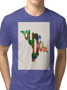 Moldova Typographic Watercolor Map Tri-blend T-Shirt