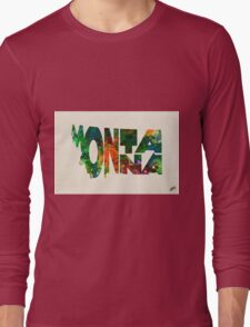Montana Typographic Watercolor Map Long Sleeve T-Shirt