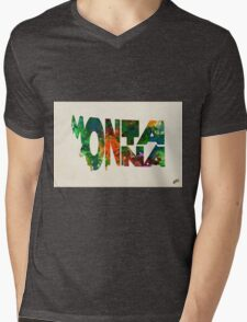 Montana Typographic Watercolor Map Mens V-Neck T-Shirt