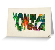 Montana Typographic Watercolor Map Greeting Card