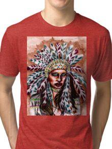 Lumbee Woman - Indian Native American Tri-blend T-Shirt