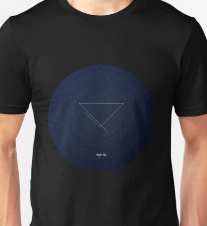 Blue night sky. Figure: triangle with incomplete lines. Modern design with mathematical and geometrical features. Space navy blue background Unisex T-Shirt