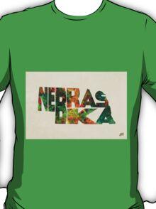 Nebraska Typographic Watercolor Map T-Shirt