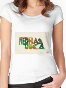 Nebraska Typographic Watercolor Map Women's Fitted Scoop T-Shirt