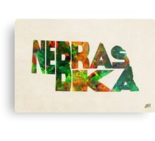 Nebraska Typographic Watercolor Map Metal Print