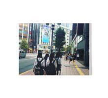 Japanese School Girls in Shibuya Art Board