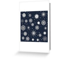 Set of white winter snowflakes on the blue background Greeting Card