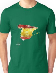 Map of Spain with geometric pattern in Spain's national colors. Low poly Unisex T-Shirt