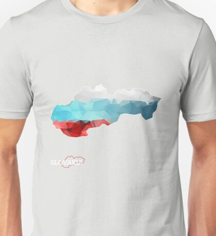 Map of Slovakia with geometric pattern in Slovakia's national colors. Low poly Unisex T-Shirt
