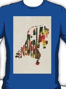 The Netherlands Typographic Watercolor Map T-Shirt