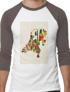 The Netherlands Typographic Watercolor Map Men's Baseball ¾ T-Shirt