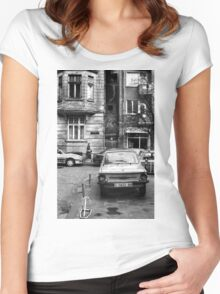 Quiet Streetscape In Sofia From Last Century Women's Fitted Scoop T-Shirt