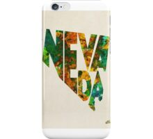 Nevada Typographic Watercolor Map iPhone Case/Skin