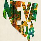 Nevada Typographic Watercolor Map by Deniz Akerman