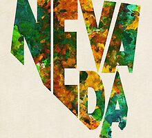 Nevada Typographic Watercolor Map by A. TW