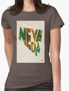 Nevada Typographic Watercolor Map Womens Fitted T-Shirt