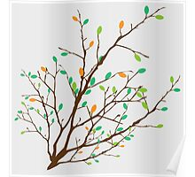 rown branch with the colorful green and orange leaves Poster
