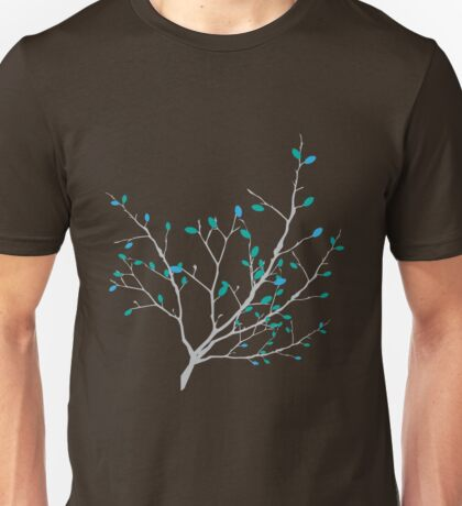 Branch with the colorful blue and green leaves Unisex T-Shirt