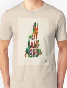 New Hampshire Typographic Watercolor Map Unisex T-Shirt