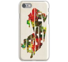New Jersey Typographic Watercolor Map iPhone Case/Skin