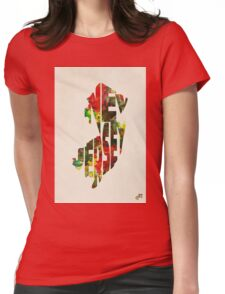 New Jersey Typographic Watercolor Map Womens Fitted T-Shirt
