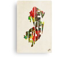 New Jersey Typographic Watercolor Map Metal Print