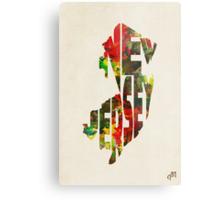 New Jersey Typographic Watercolor Map Metal Print