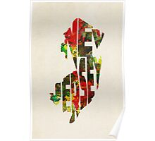 New Jersey Typographic Watercolor Map Poster