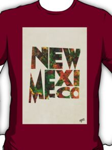 New Mexico Typographic Watercolor Map T-Shirt