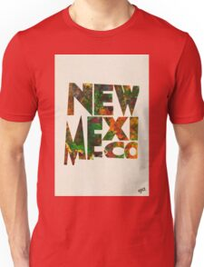 New Mexico Typographic Watercolor Map Unisex T-Shirt