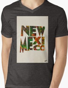 New Mexico Typographic Watercolor Map Mens V-Neck T-Shirt