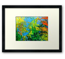 Idea modern abstract painting Yellow Green Blue Framed Print