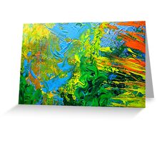 Idea modern abstract painting Yellow Green Blue Greeting Card