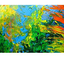 Idea modern abstract painting Yellow Green Blue Photographic Print