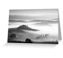 Early morning mist, Val D'Orcia, Tuscany, Italy. Greeting Card