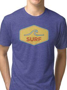 Surf - Vintage Wave Surfing Sticker Tri-blend T-Shirt