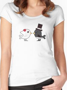 Cute couple wedding birds Women's Fitted Scoop T-Shirt