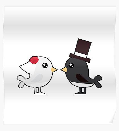 Cute couple wedding birds Poster