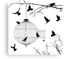 Birds silhouettes and bird cage Canvas Print