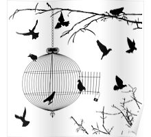 Birds silhouettes and bird cage Poster