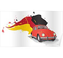Red Orange VW Beetle with the German Flag Colors behind Poster