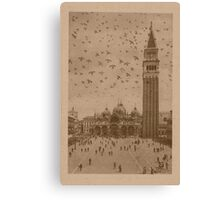 Vintage church of saint Marco and tower bell,Venice,Italy Canvas Print
