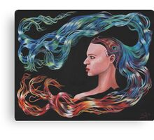 Blue Peacock Girl with Flowing Hair  Canvas Print