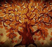 Grunge autumn oak tree by AnnArtshock