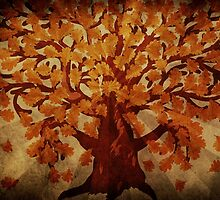 Grunge autumn oak tree by AnnArtshock