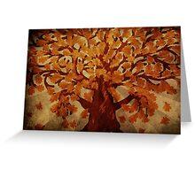 Grunge autumn oak tree Greeting Card