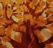 Grunge autumn oak tree Sticker
