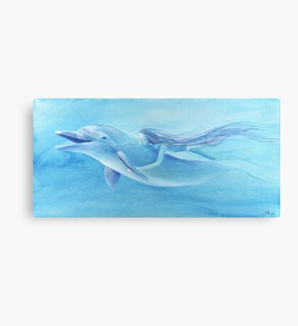 Blue Dolphin with Swimming Mermaid Transformed Girl Canvas Print