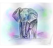 Elephant watercolour sketch Poster