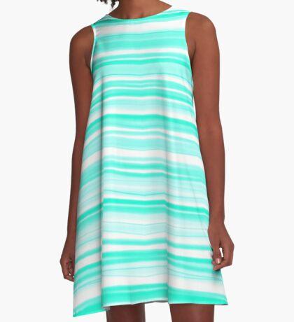 Aqua Candy Cane A-Line Dress